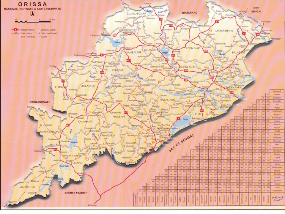 Orissa Road Map Orissa Road Connectivity   Orissa Higher Education Vision 2020